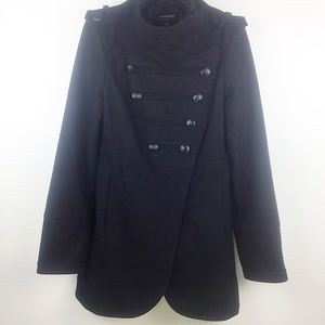 Coffee Shop Black Wool Double Breasted Pea Coat